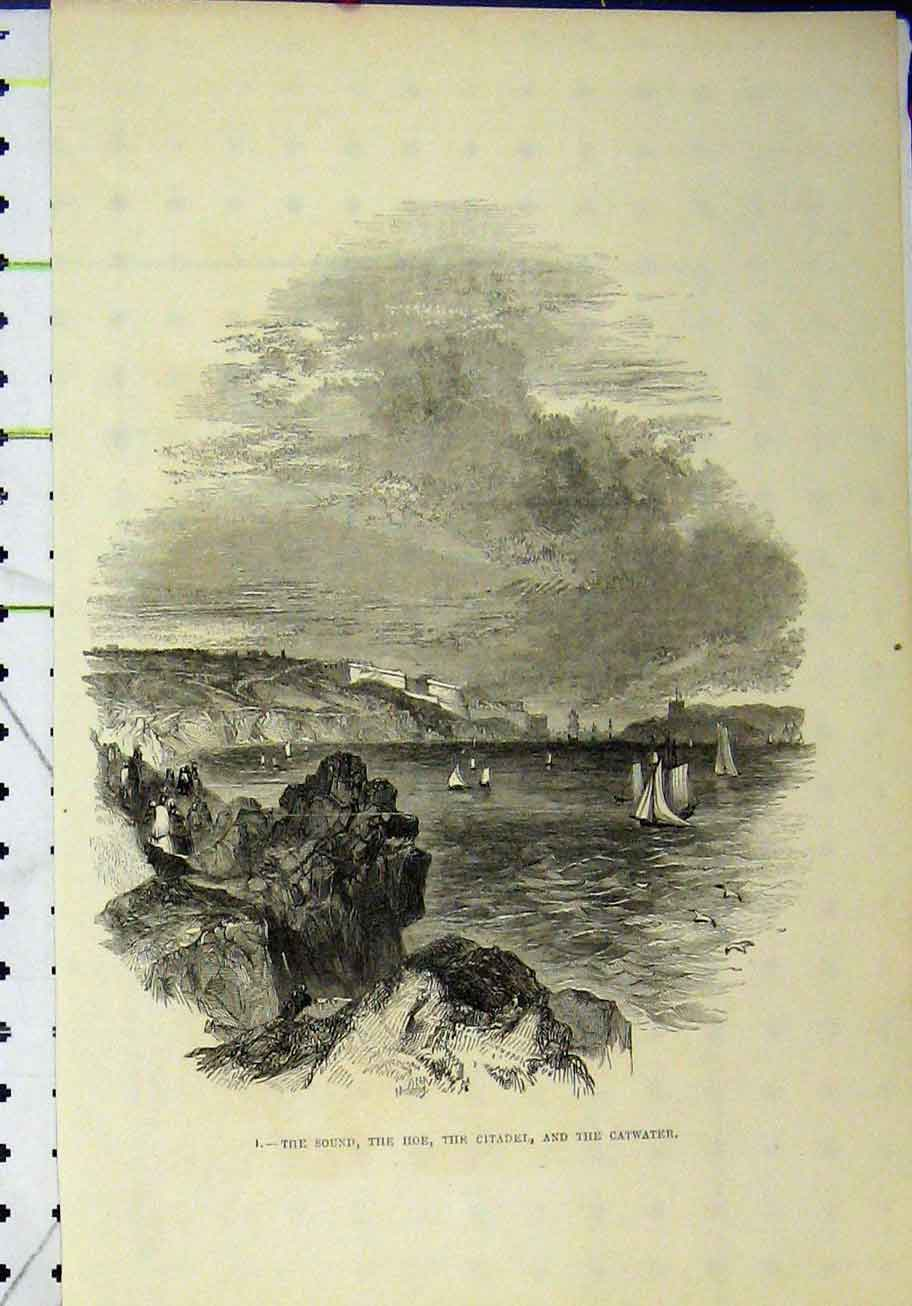 Print Sound Hoe Citadel Catwater Ship Cliffs 286A193 Old Original