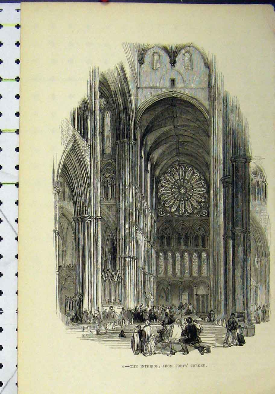 Print Interior Cathedral Poets Corner People 289A193 Old Original