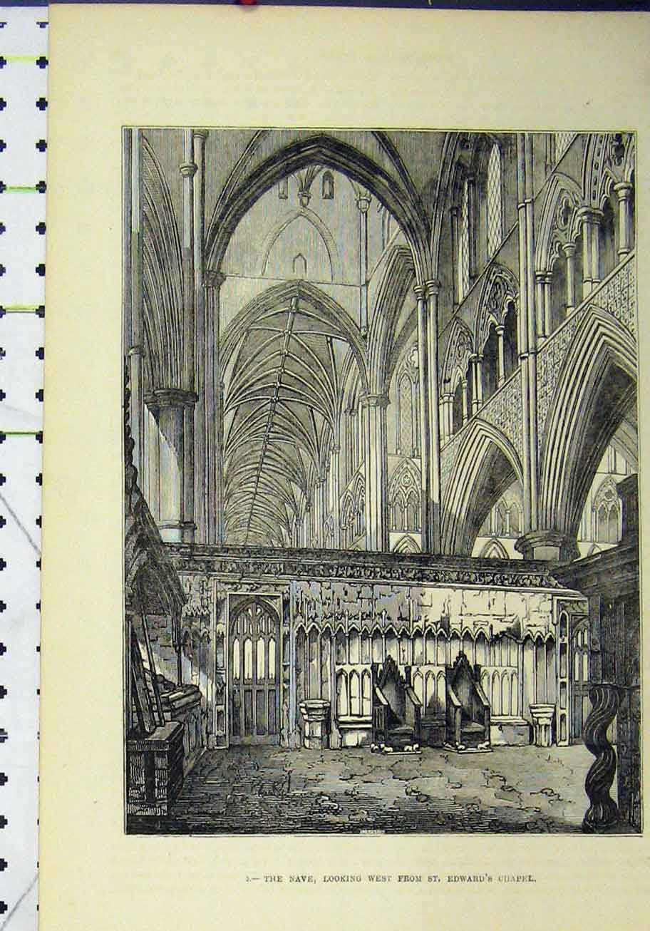 Print View Nave West St Edward Chapel Church 290A193 Old Original