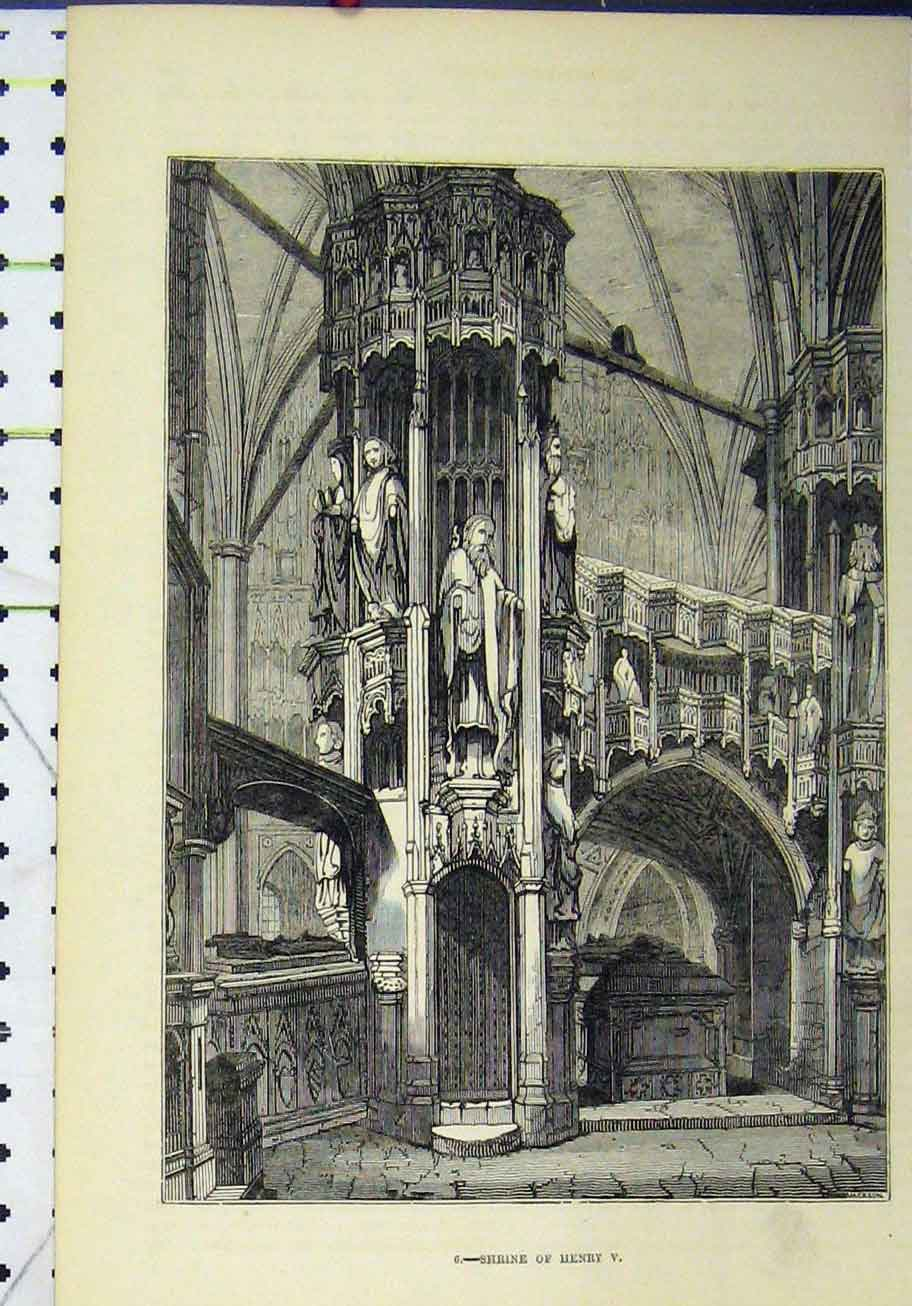 Print View Shrine Henry V Monument Column 291A193 Old Original