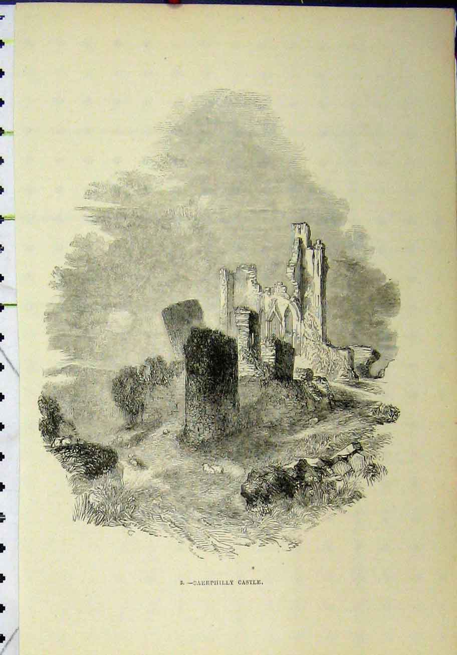 Print View Caerphilly Castle Irleland Ruins Country Scene 297A193 Old Original