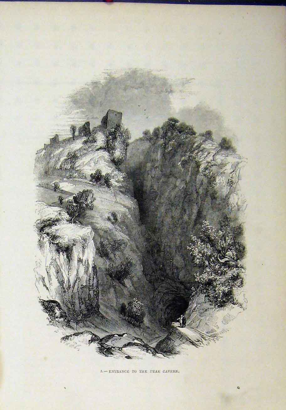 Print View Entrance Peak Cavern Cliff Country Scene 305A193 Old Original