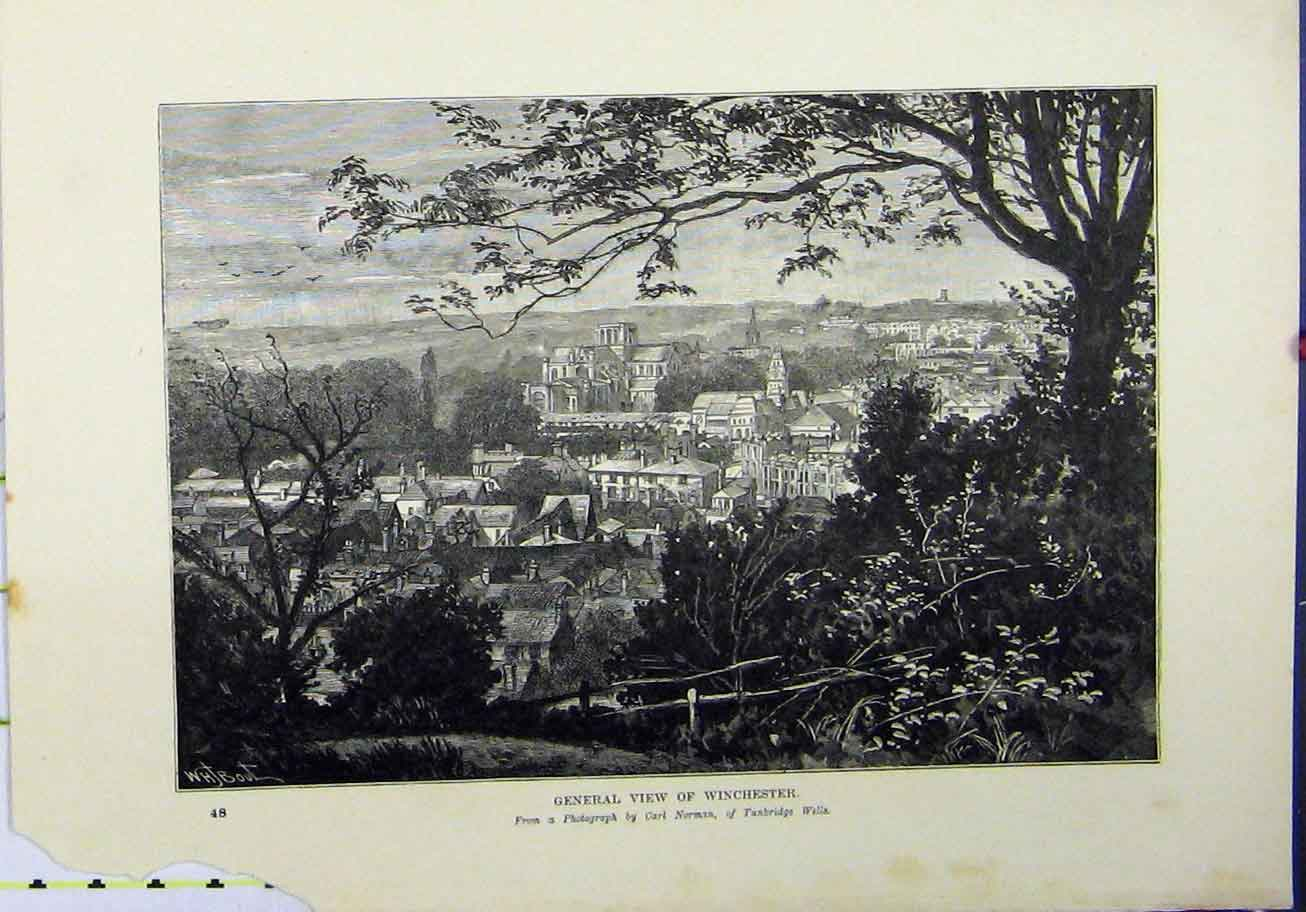 Print 1898 General View Winchester Carl Norman Town England 348A193 Old Original