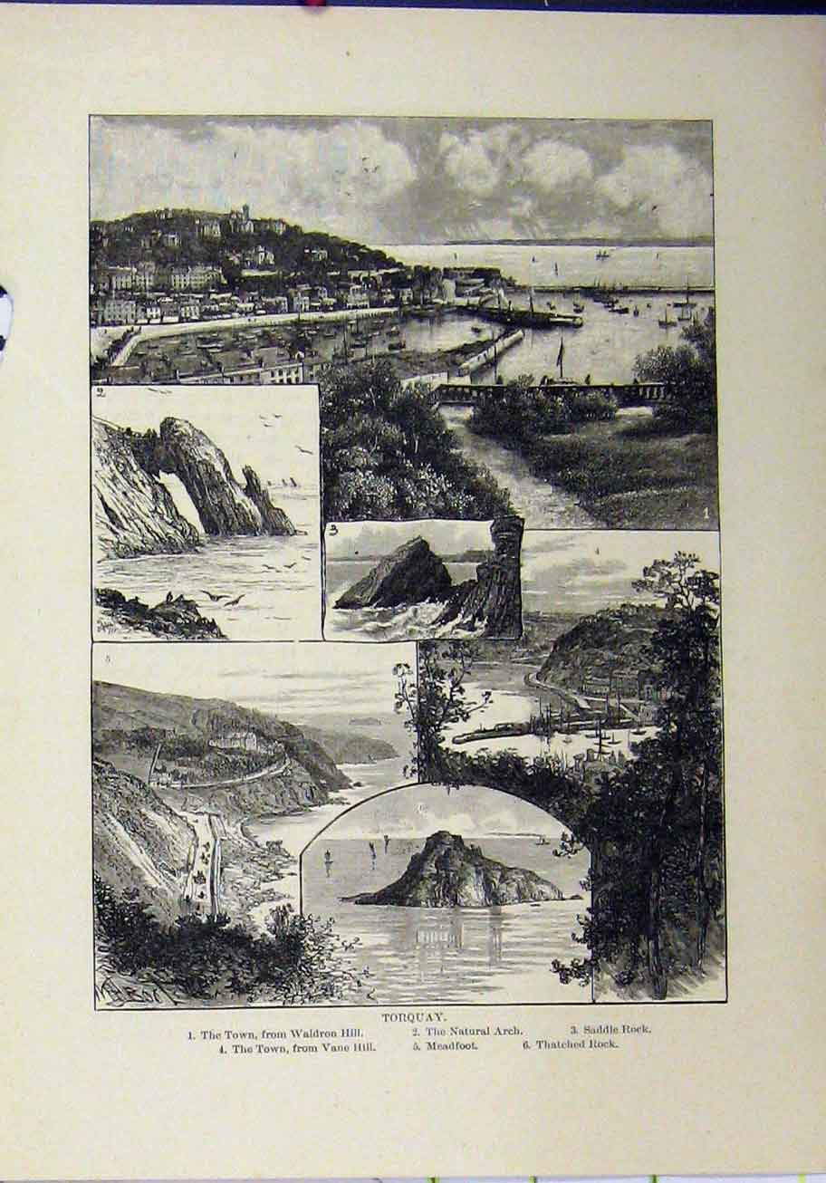 Print 1898 View Torquay Arch Saddle Rock Meadfoot Thatched 352A193 Old Original