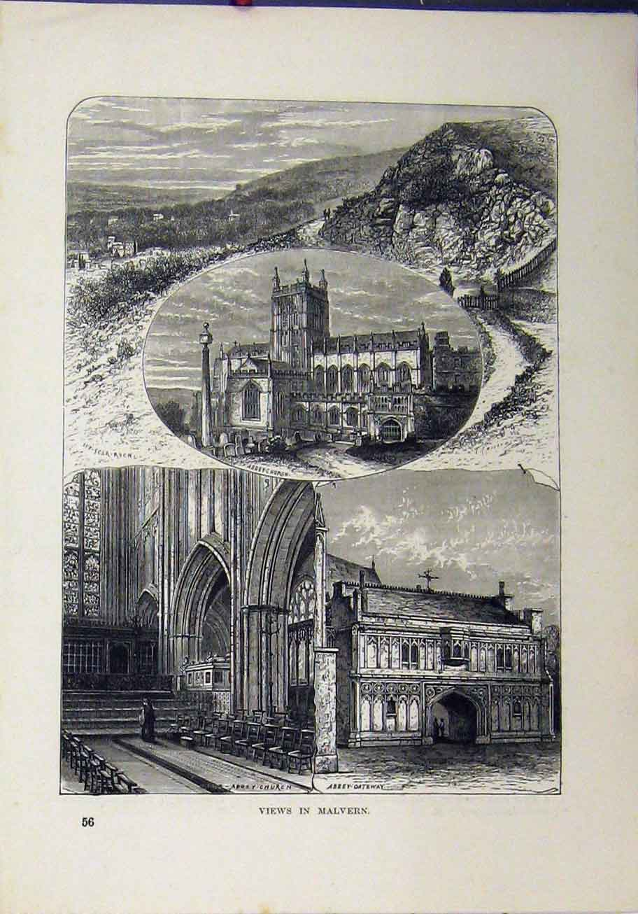 Print 1898 Views Malvern Abbey Gateway Church Ivy-Scar Rock 365A193 Old Original