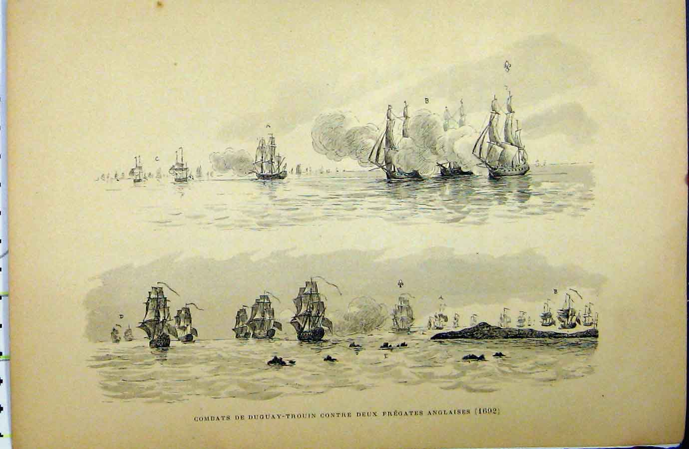 Print C1889 French War Ships Battle Frigates Littoral 201A194 Old Original