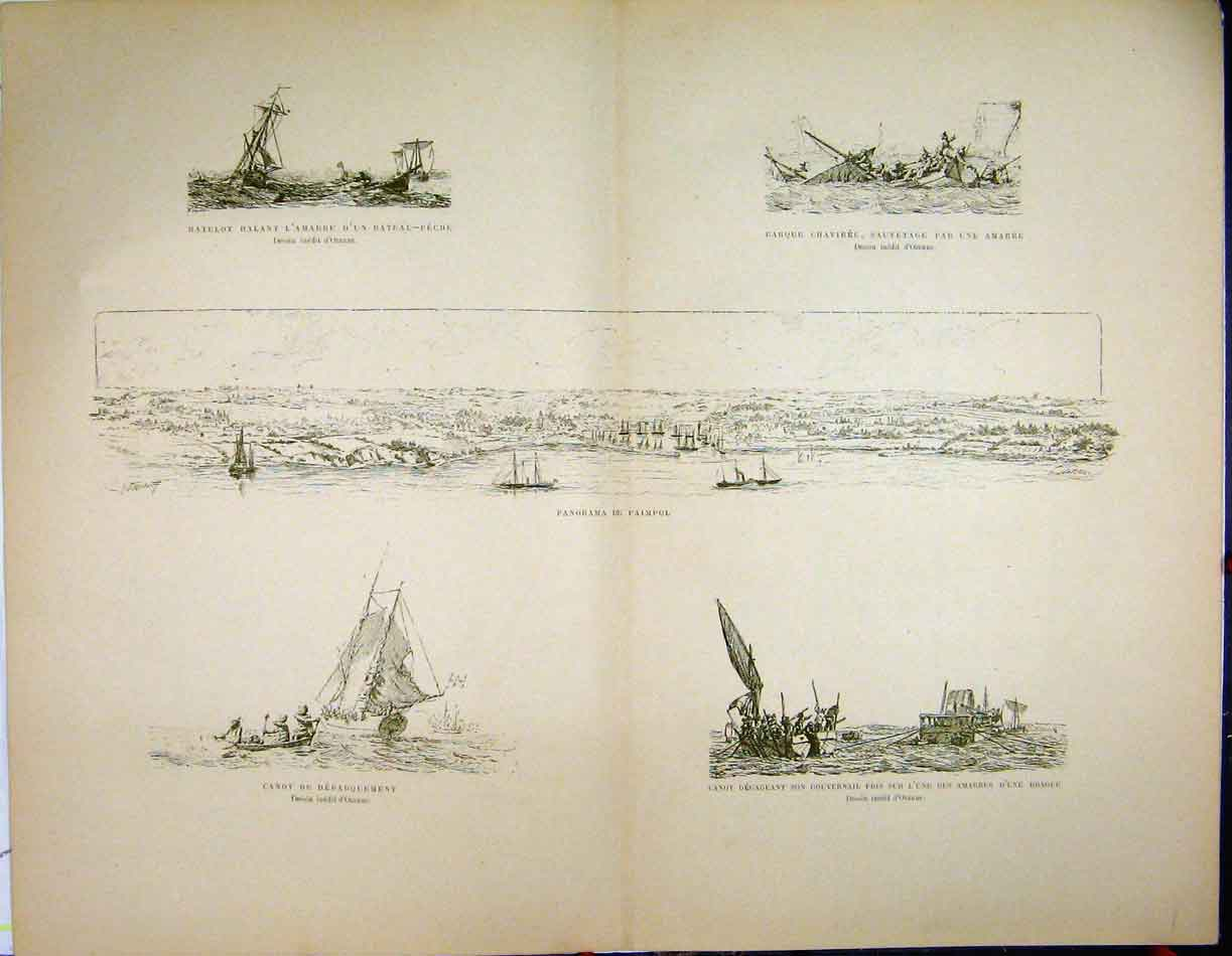 Print Double Page C1889 French Sailing Boat Littoral 203A194 Old Original