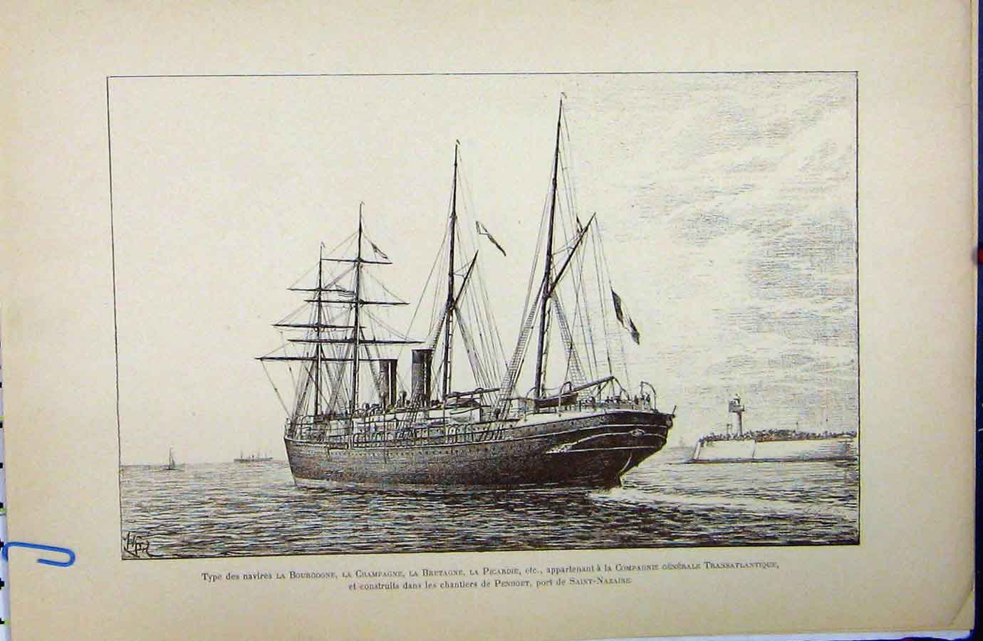 [Print *3395 C1889 French Sailing Ship Littoral Maritime History 229A194 Old Original]