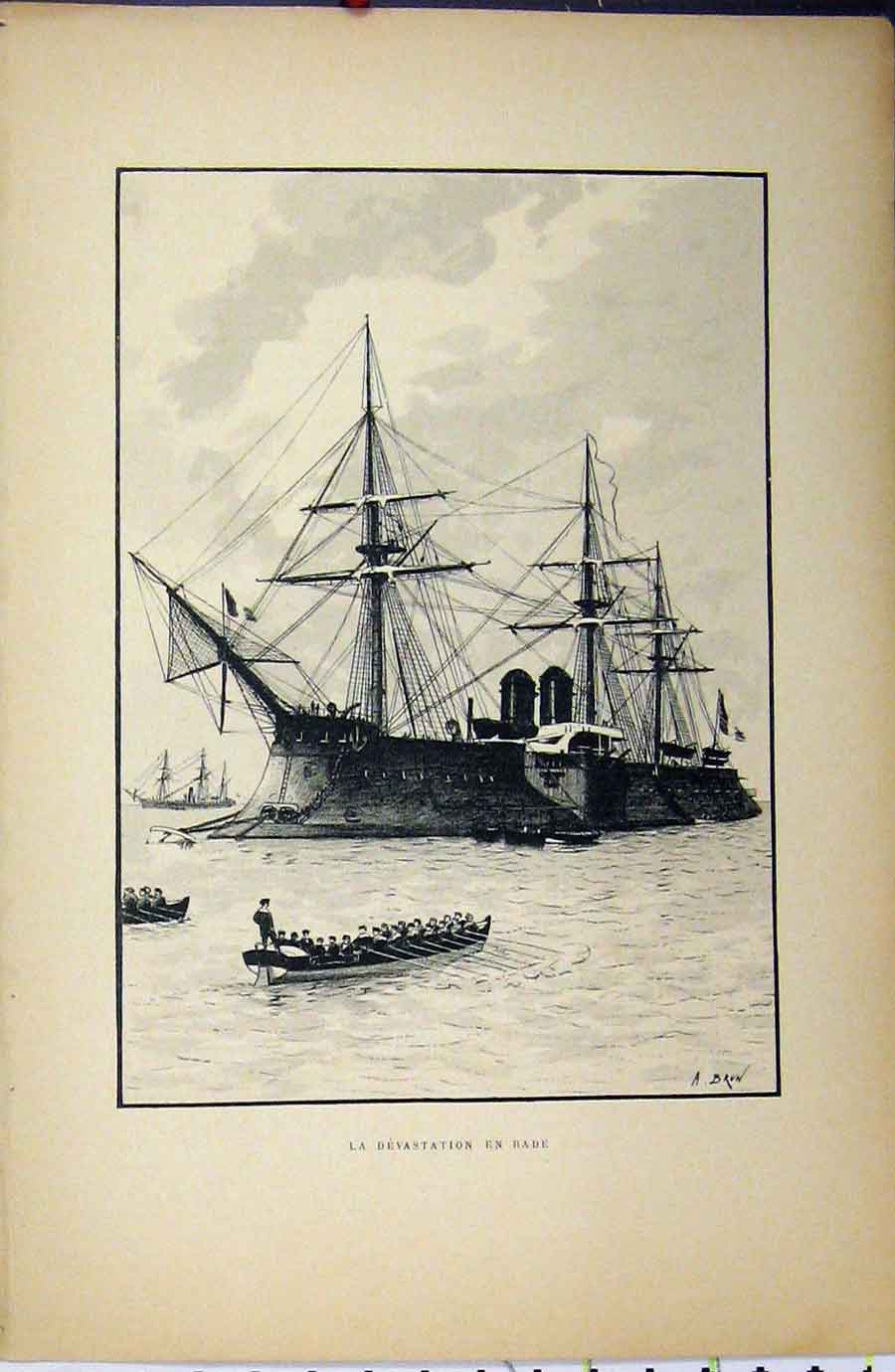 Print C1889 French Sailing War Ship Littoral Maritime 252A194 Old Original