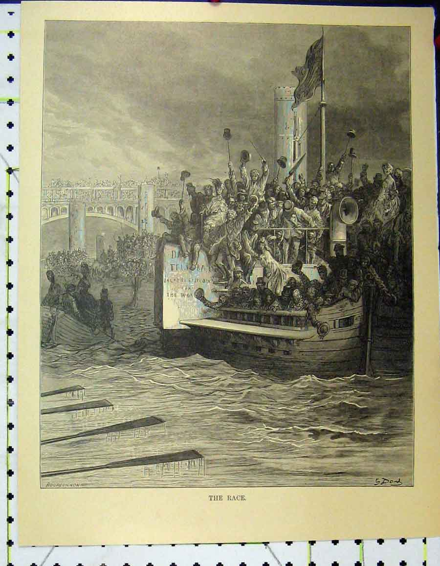 Print C1870 Boat Race Gustave Dore River Men Cheering 942A195 Old Original