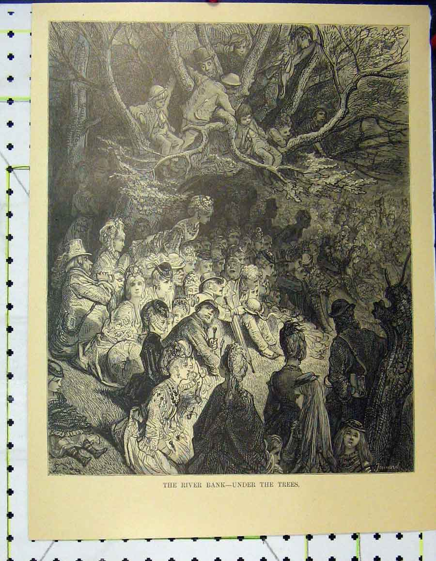 Print C1870 Gustave Dore Scene River Bank Under Trees London 943A195 Old Original