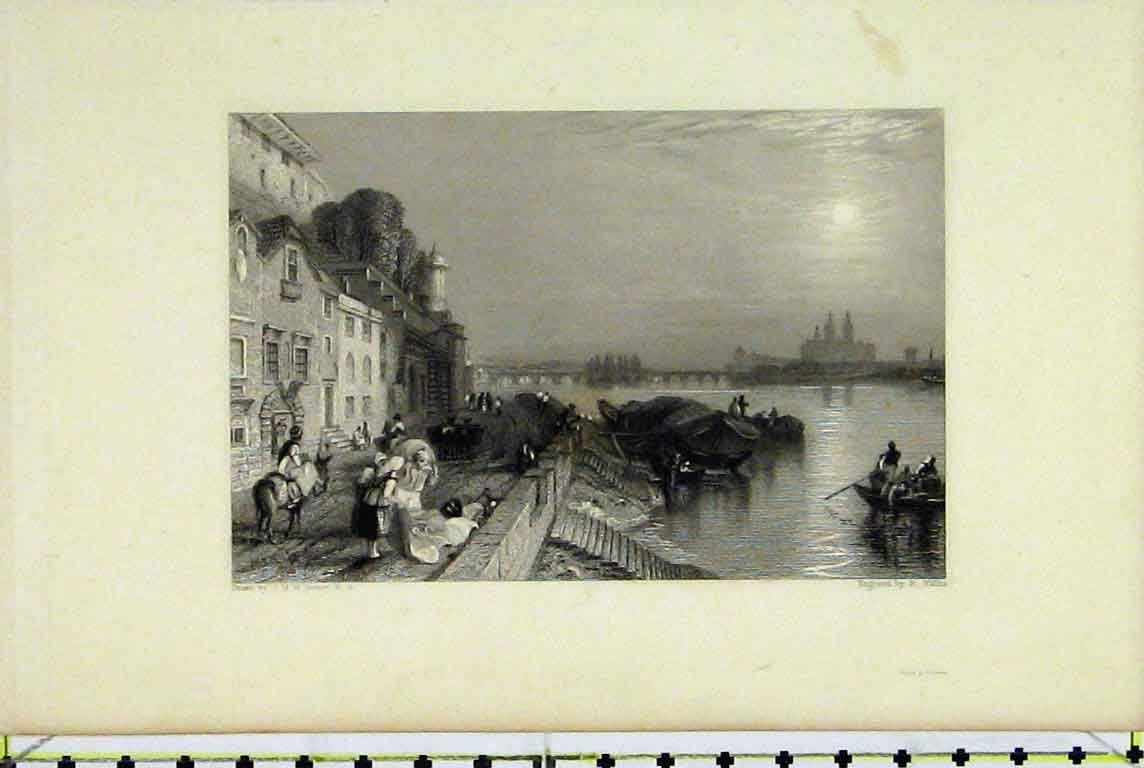 Print River View Steps Boats Bridge Houses People 317A196 Old Original