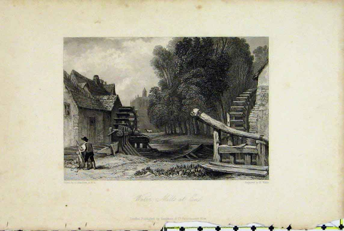 Print View Water Mills Eu France Country Scene Wallis 320A196 Old Original