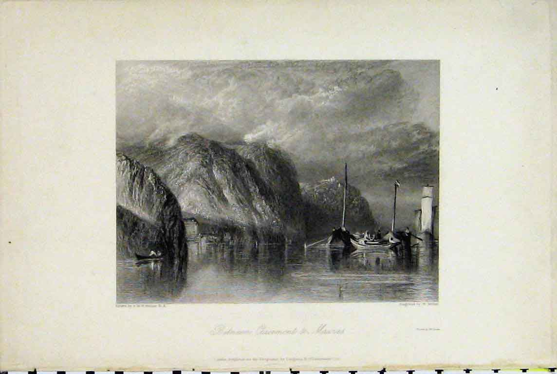 Print Mountain View Between Clairmont Mauves France Miller 324A196 Old Original