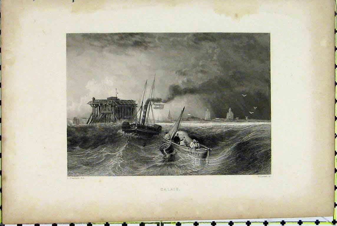 Print View Calais France Fishing Boat Stormy Sea Finden 328A196 Old Original