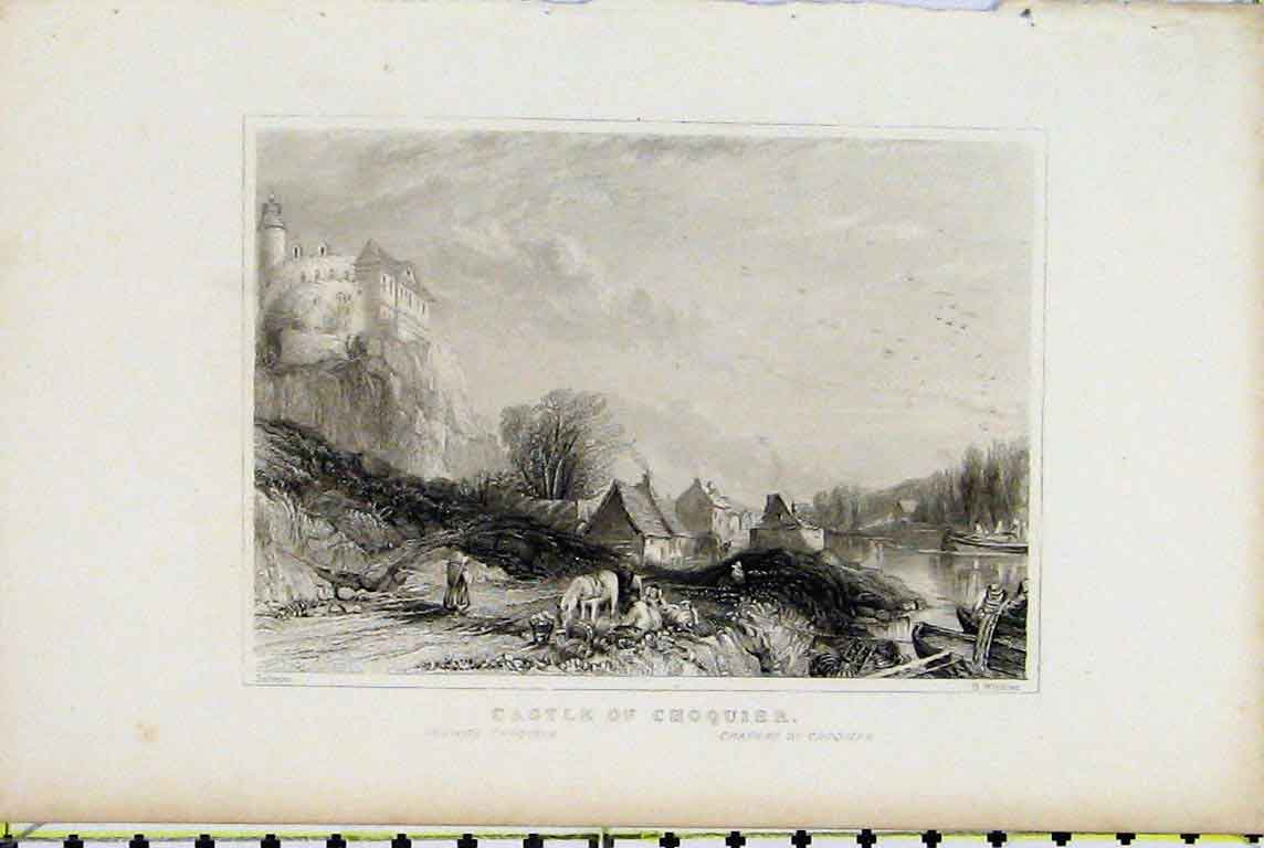 Print View Castle Choquier River Country Scene Winkles 332A196 Old Original