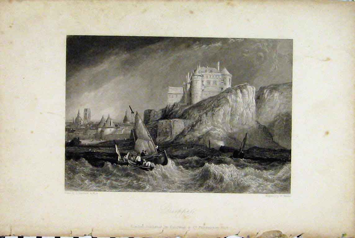 Print View Dieppe Castle Cliff Stormy Sea Sailing Boat Miller 333A196 Old Original