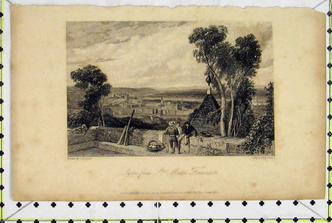 Print 1831 View Lyons Marie Fourvieres Town Scene Finden 364A196 Old Original