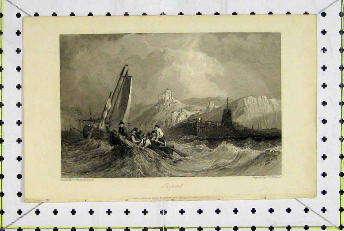 Print View Triport France Stormy Sea Willmore 365A196 Old Original