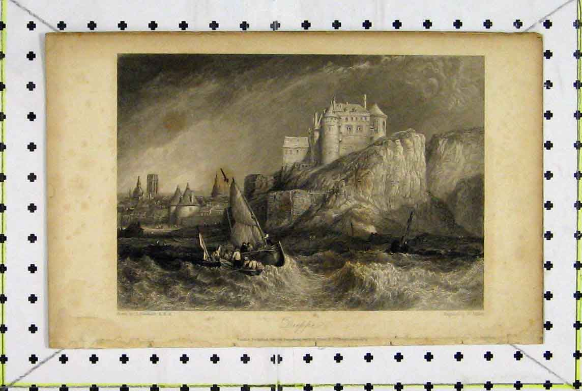 Print View Dieppe France Castle Stormy Sea Sailing Boat 368A196 Old Original