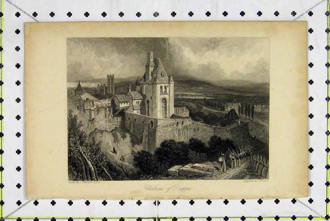 Print View Chateau Dieppe France Country Scene Lewis 370A196 Old Original