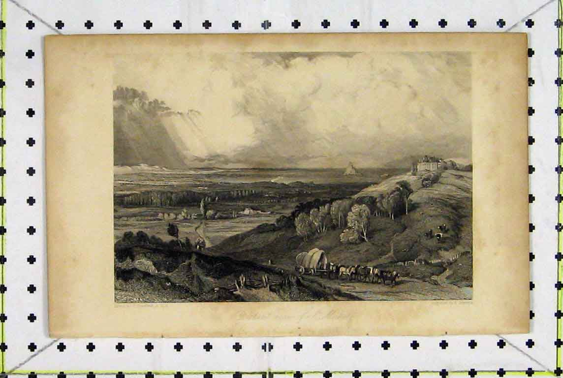Print Distant View St. Michel France Country Scene 371A196 Old Original