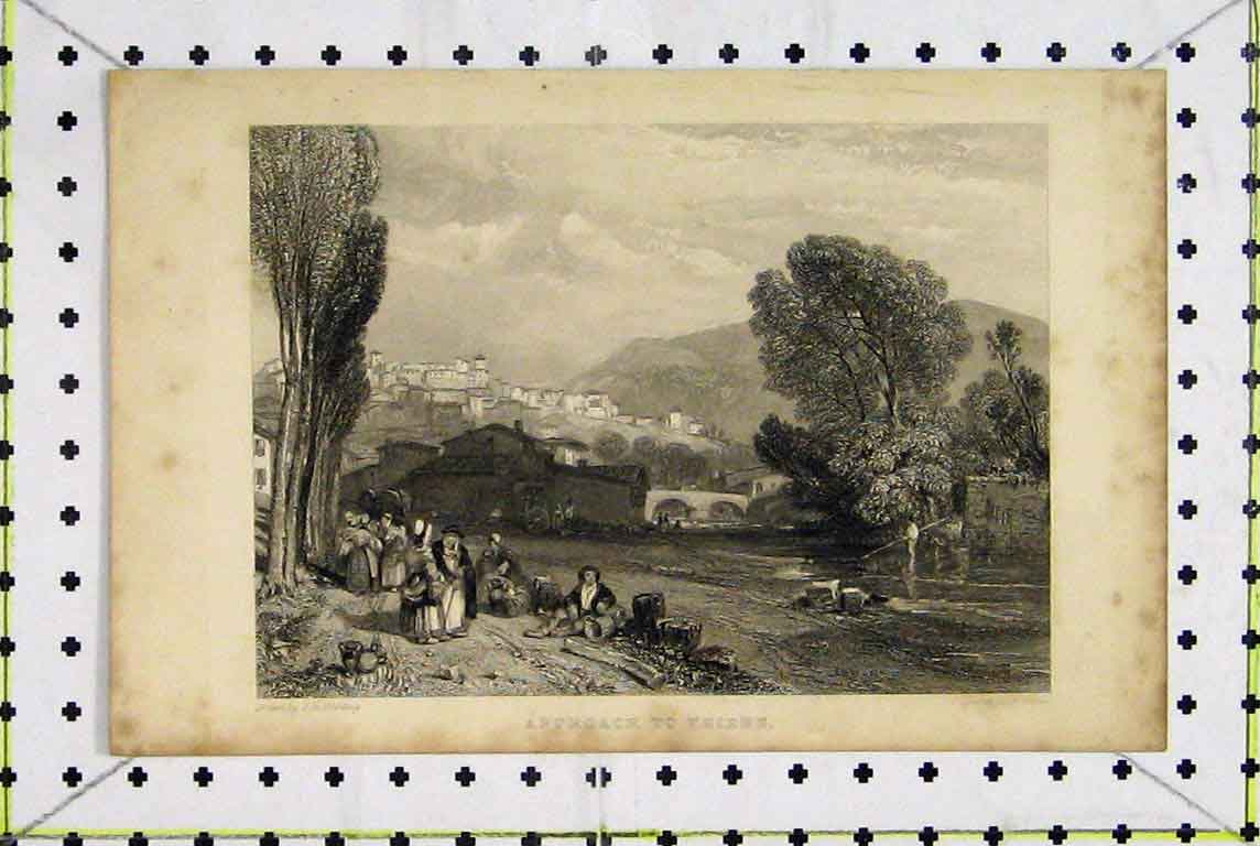 Print Country Scene Approach Thiers France Cousen 373A196 Old Original