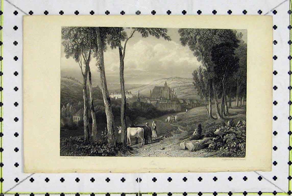 Print Country Scene Looking Towards Triport Varrall 378A196 Old Original