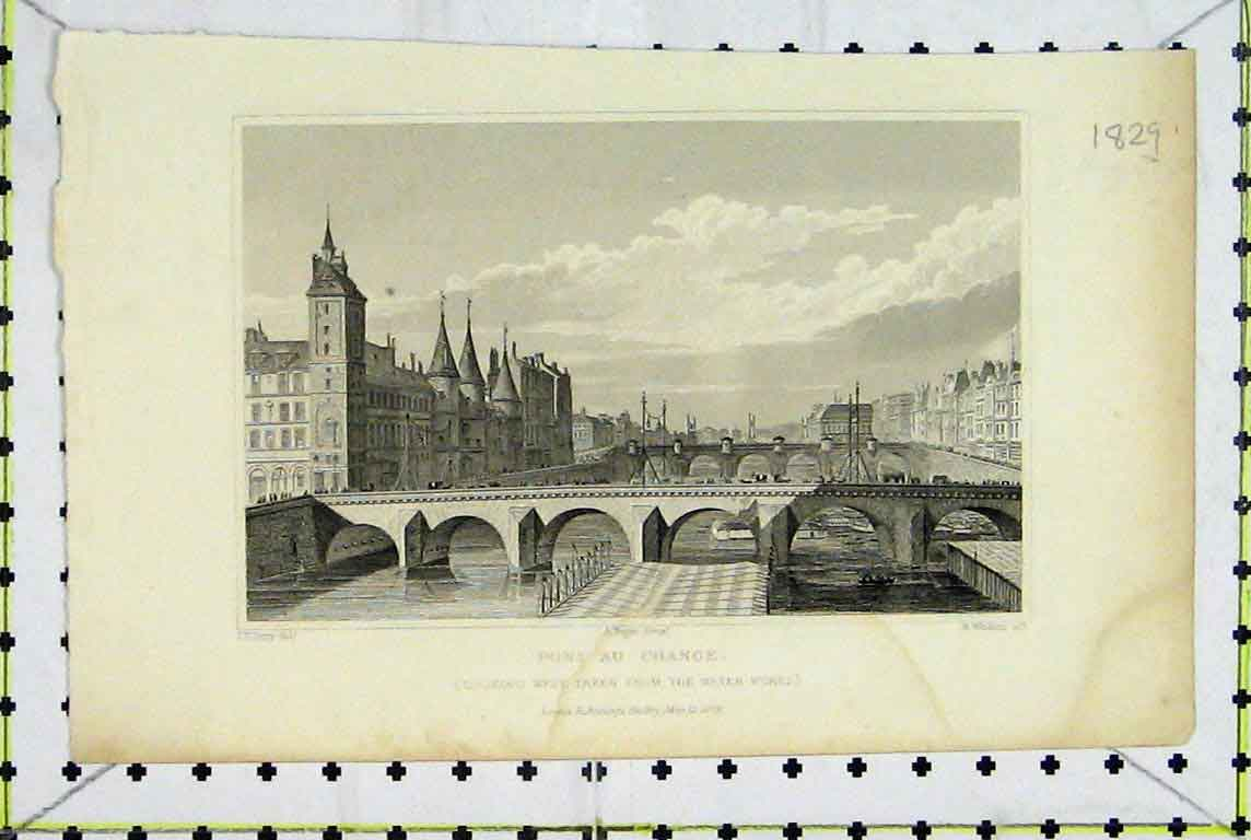 Print 1829 View Pont Au Change Bridge River Winkles 381A196 Old Original