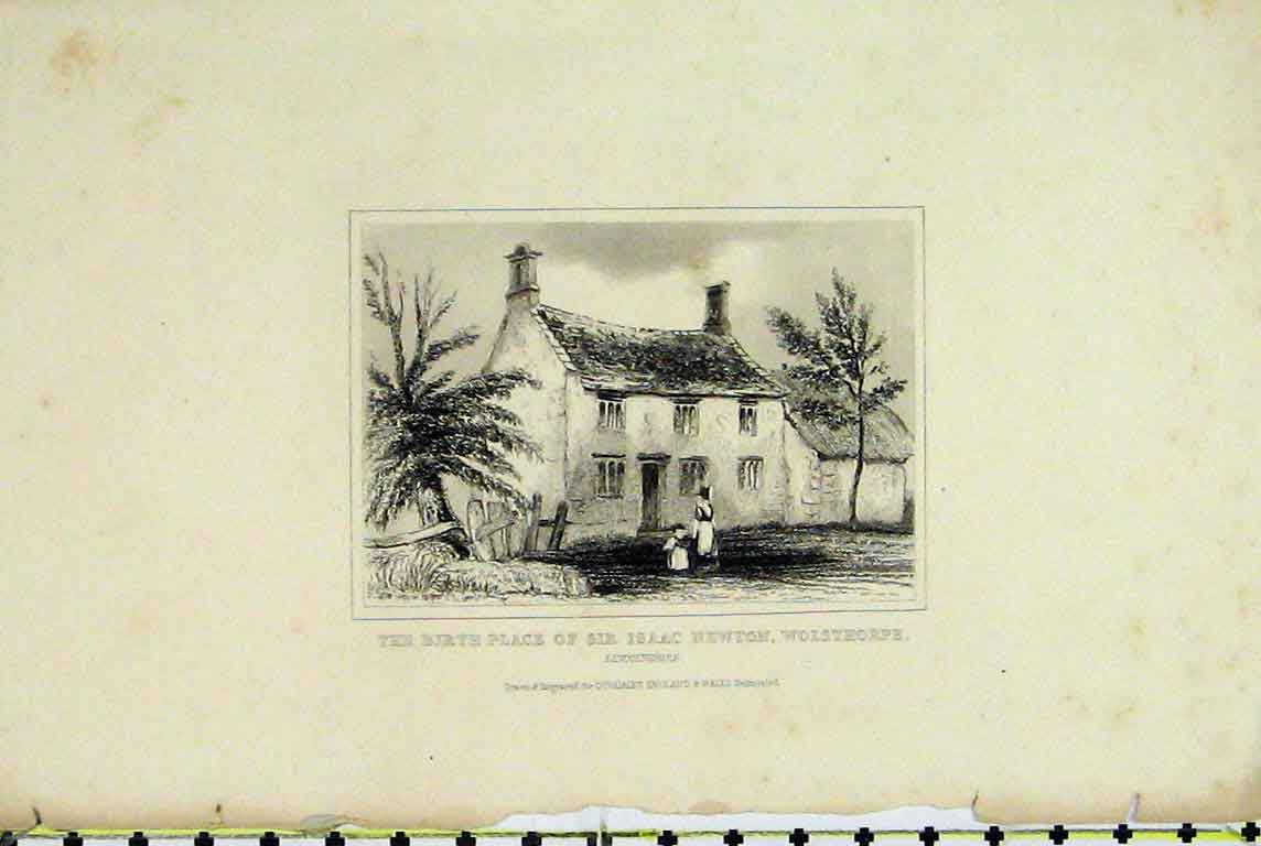 Print Dugdales Birth Place Sir Isaac Newton Wolsthorpe 388A196 Old Original