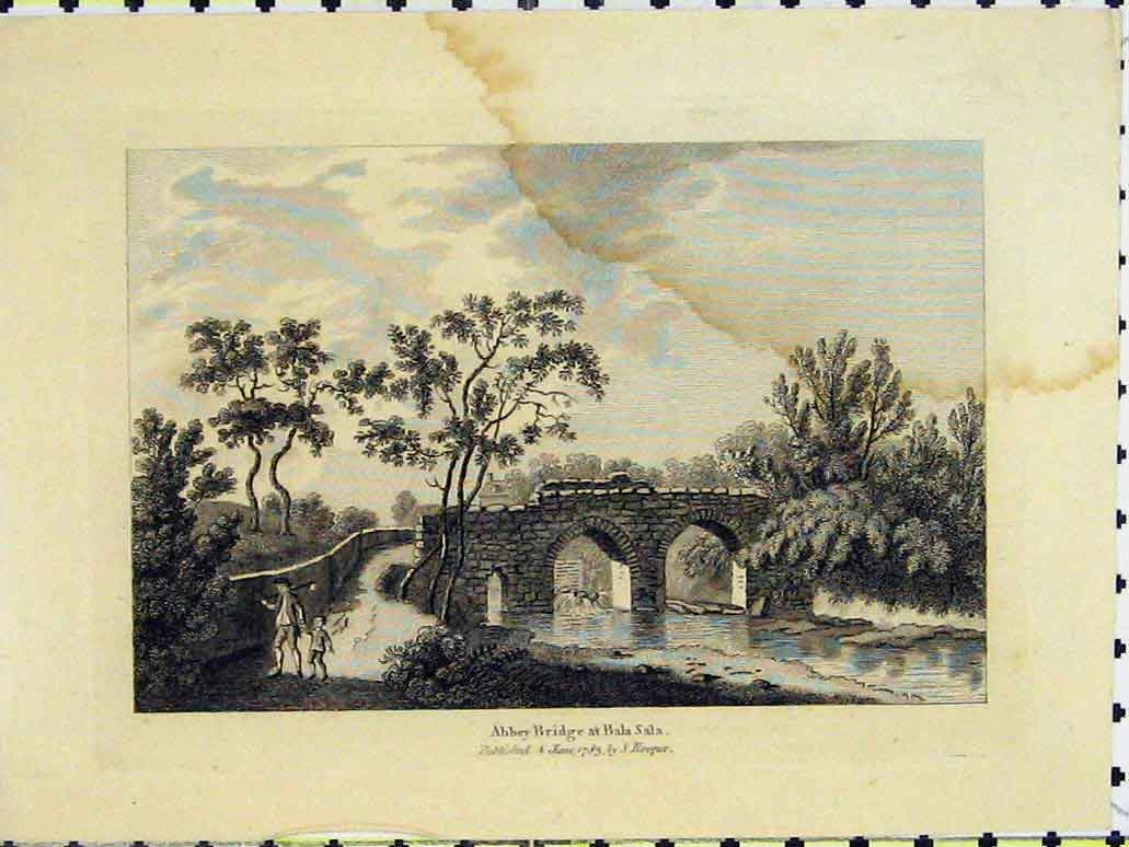 Print 1783 Abbey Bridge Bala Sala River Hooper 201A197 Old Original