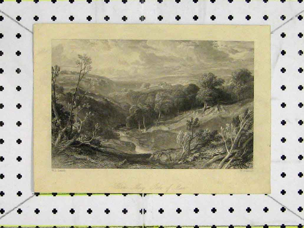 Print Glen Mary Isle Man Mountain Scene Country 232A197 Old Original