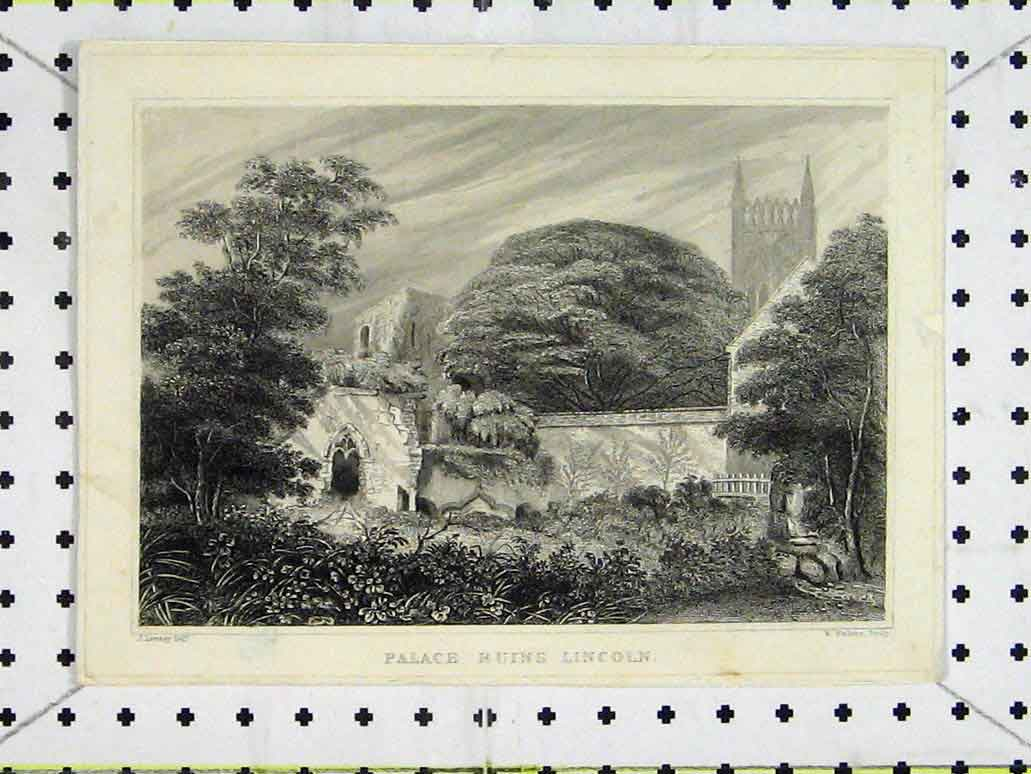Print Country Scene View Palace Ruins Lincoln Tower Trees 238A197 Old Original