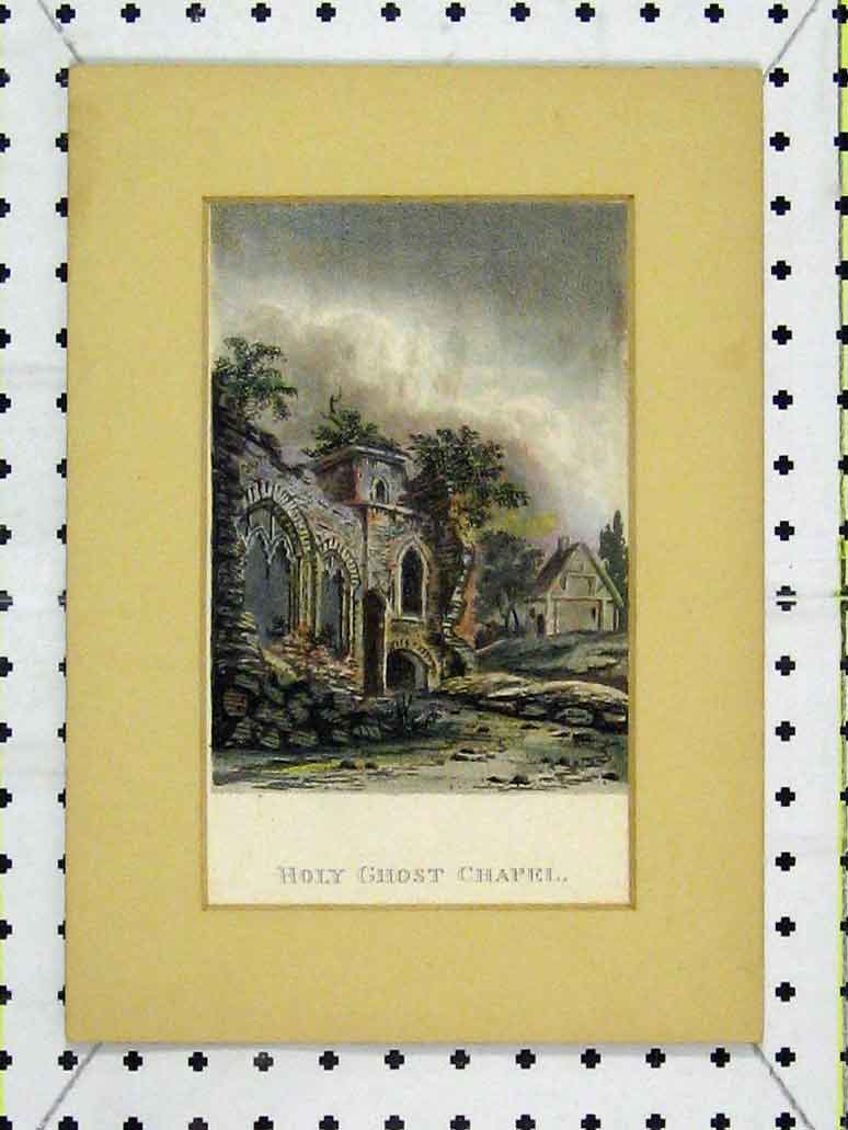 Print Colour Holy Ghost Chapel Ruins Country 271A197 Old Original