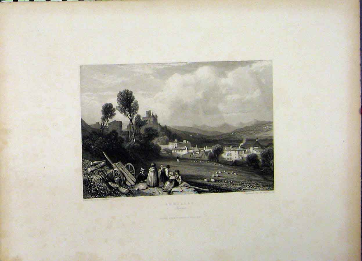 Print 1836 Country View Aurillac France Engraving Radclyffe 702A198 Old Original