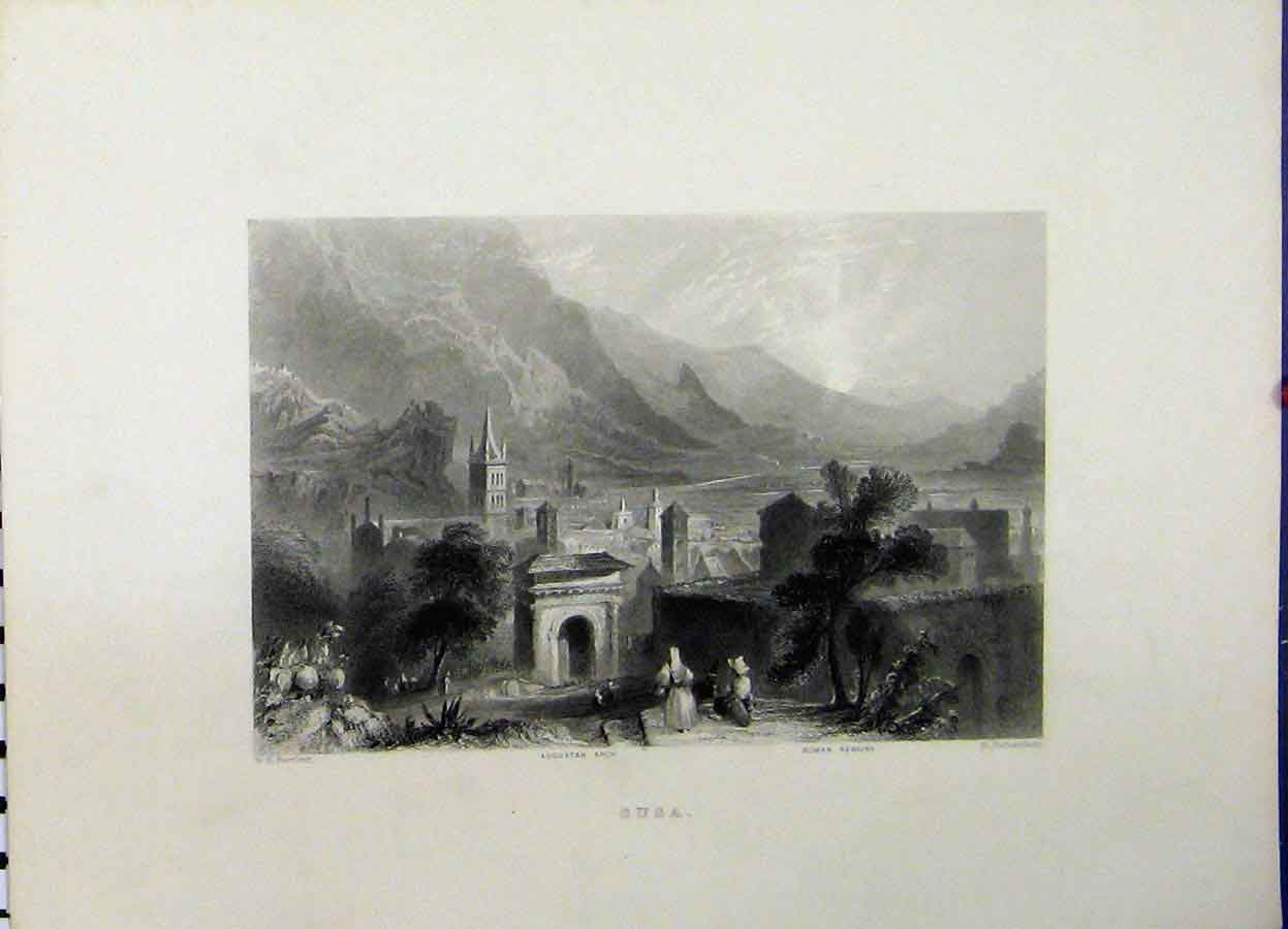 Print Mountain View C1835 Susa Augustan Arch Roman Remains 711A198 Old Original