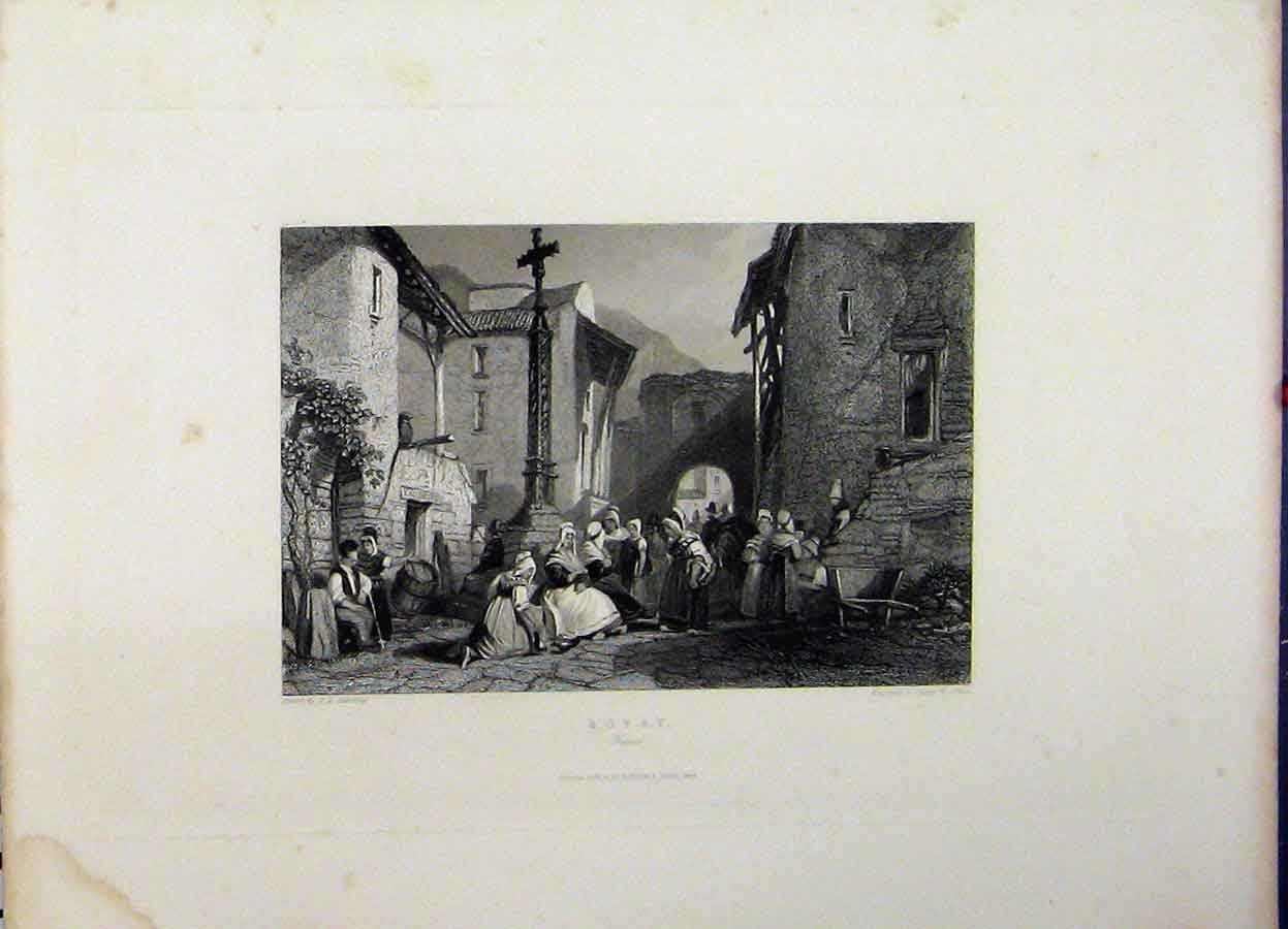 Print 1845 Street Scene Royat France Engraving Allen 730A198 Old Original