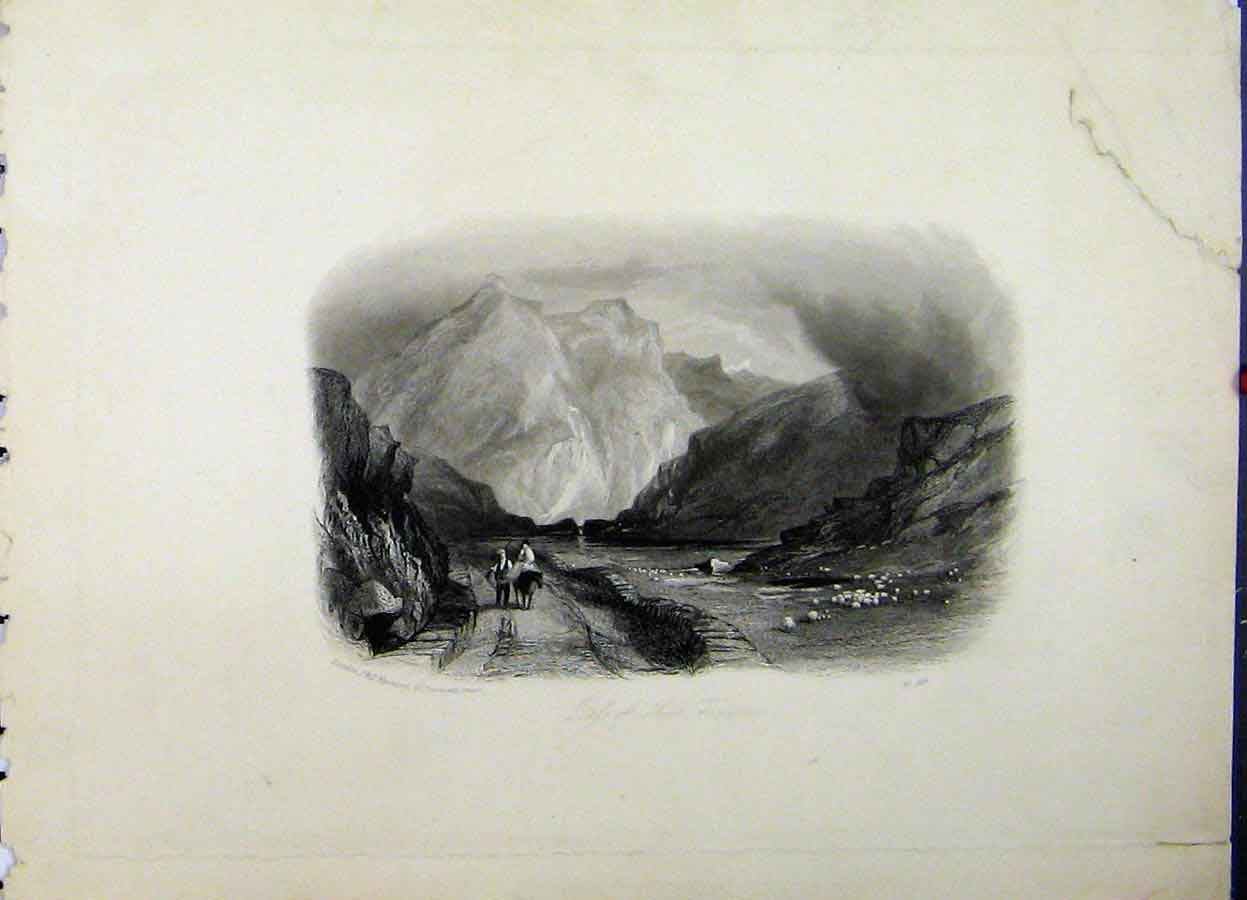 Print Mountain Scene Pass Nant Francon Sheep C1835 736A198 Old Original