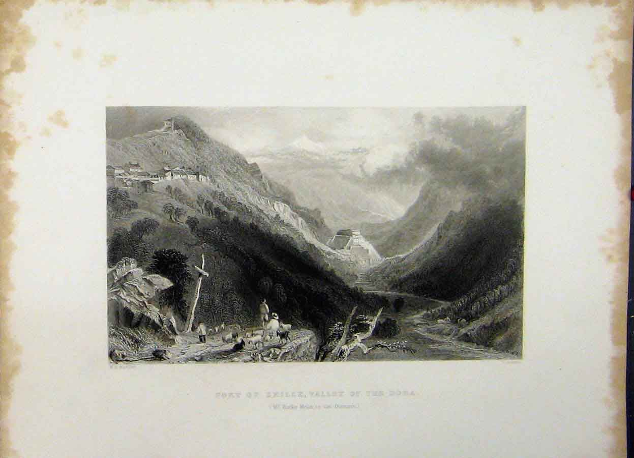Print C1835 View Fort Exille Valley Dora Mount Melon Cousen 747A198 Old Original