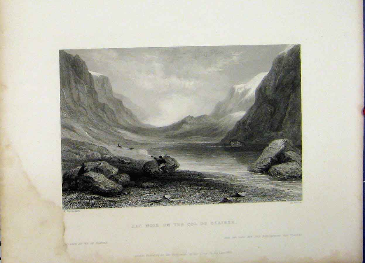 Print Mountain View Lac Noir Col De Clairee 1837 Man Hunting 751A198 Old Original