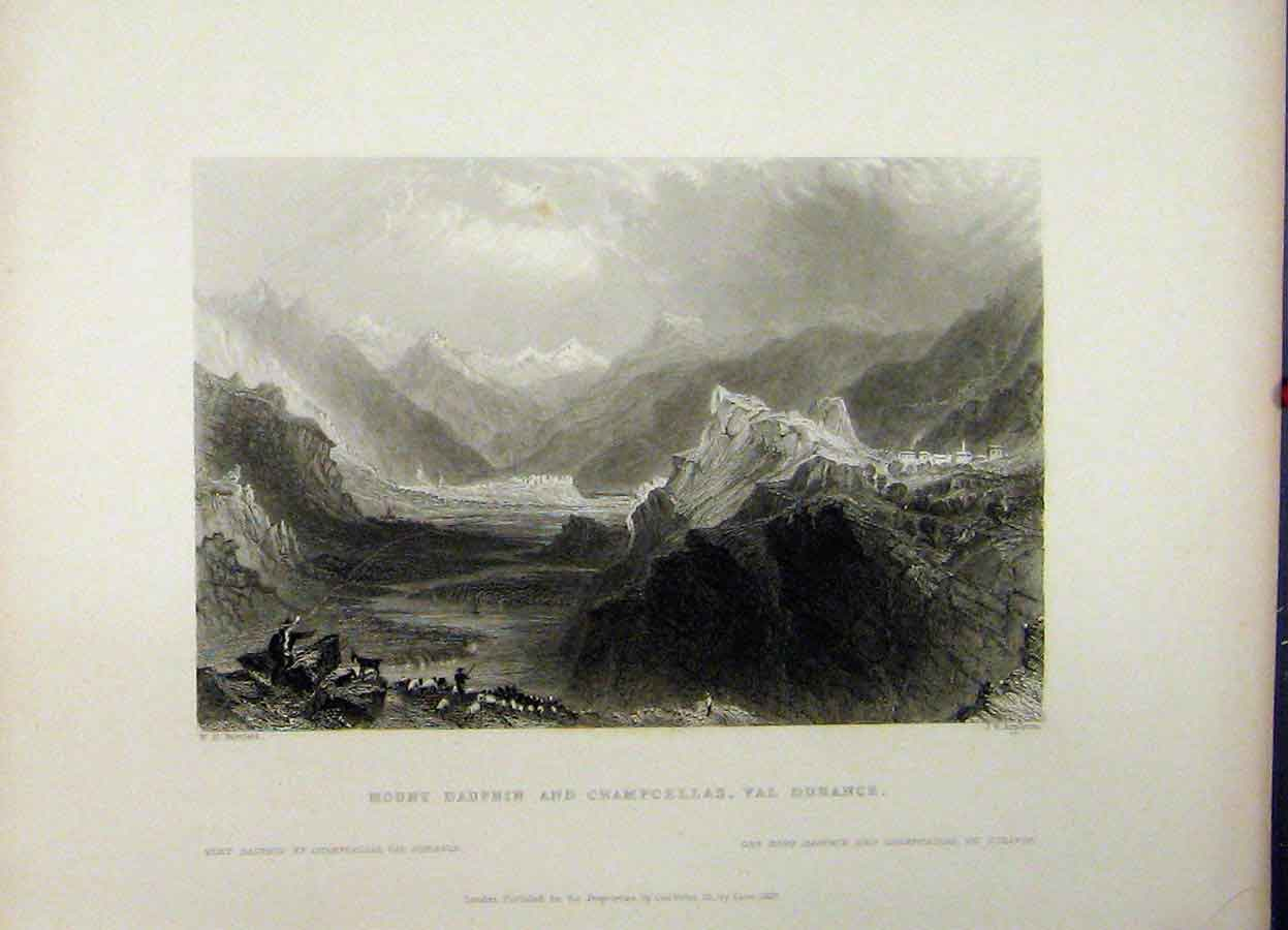 Print Mount Duphin Champcellas Durance 1837 River Appleton 753A198 Old Original