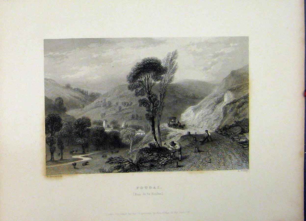 Print Mountain Scene 1837 Foudai Ban Roche Country Finden 762A198 Old Original
