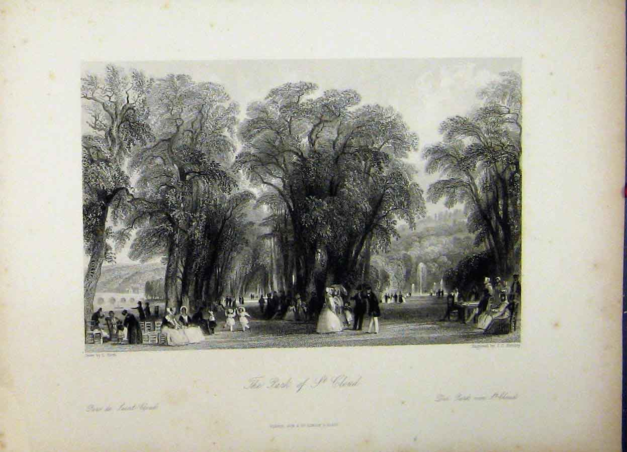 Print View Park St. Cloud Trees Family Day Out C1835 Bentley 769A198 Old Original