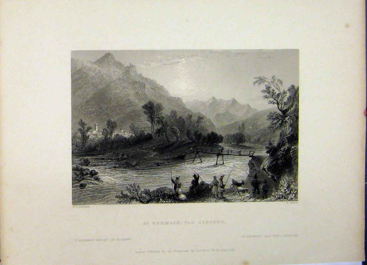 Print 1837 Mountain View St. Germain Clusone Wallis River 774A198 Old Original