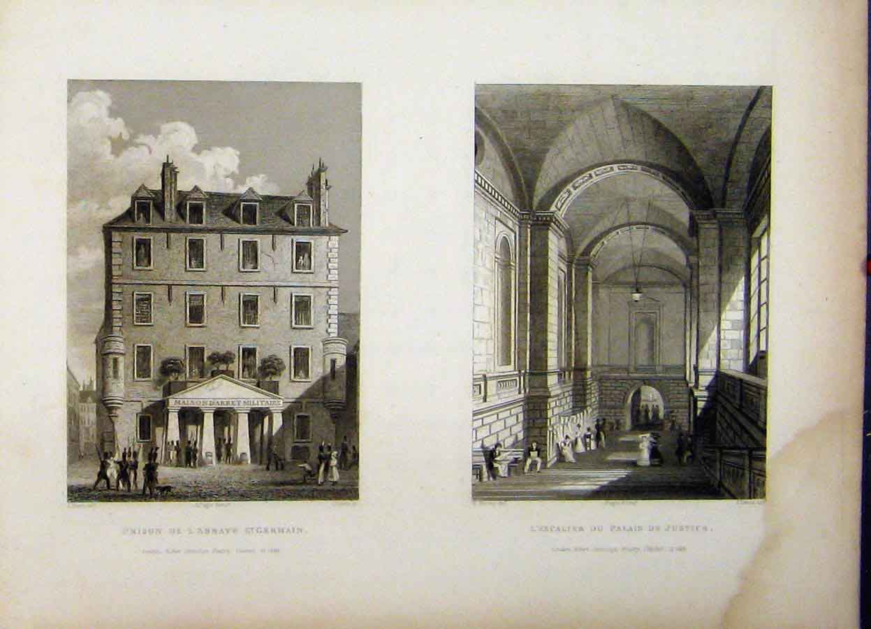 Print France Prison St Germain 1829 Law Courts Justice Lewis 780A198 Old Original