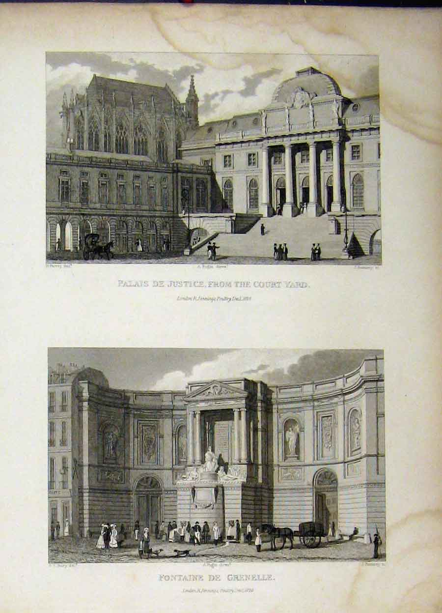 Print 1828 Law Justice Court Yard Fountain Grenelle Romney 783A198 Old Original
