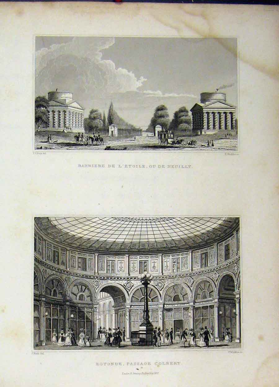 Print 1829 Rotonde Passage Colbert Barriere L'Etoile Winkles 785A198 Old Original
