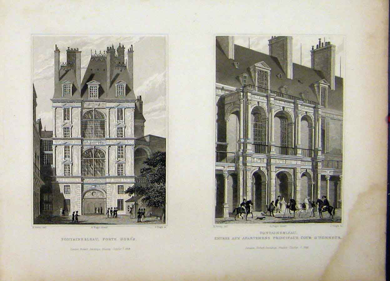 Print 1829 France Fontainebleau Porte Doree House D'Honner 788A198 Old Original