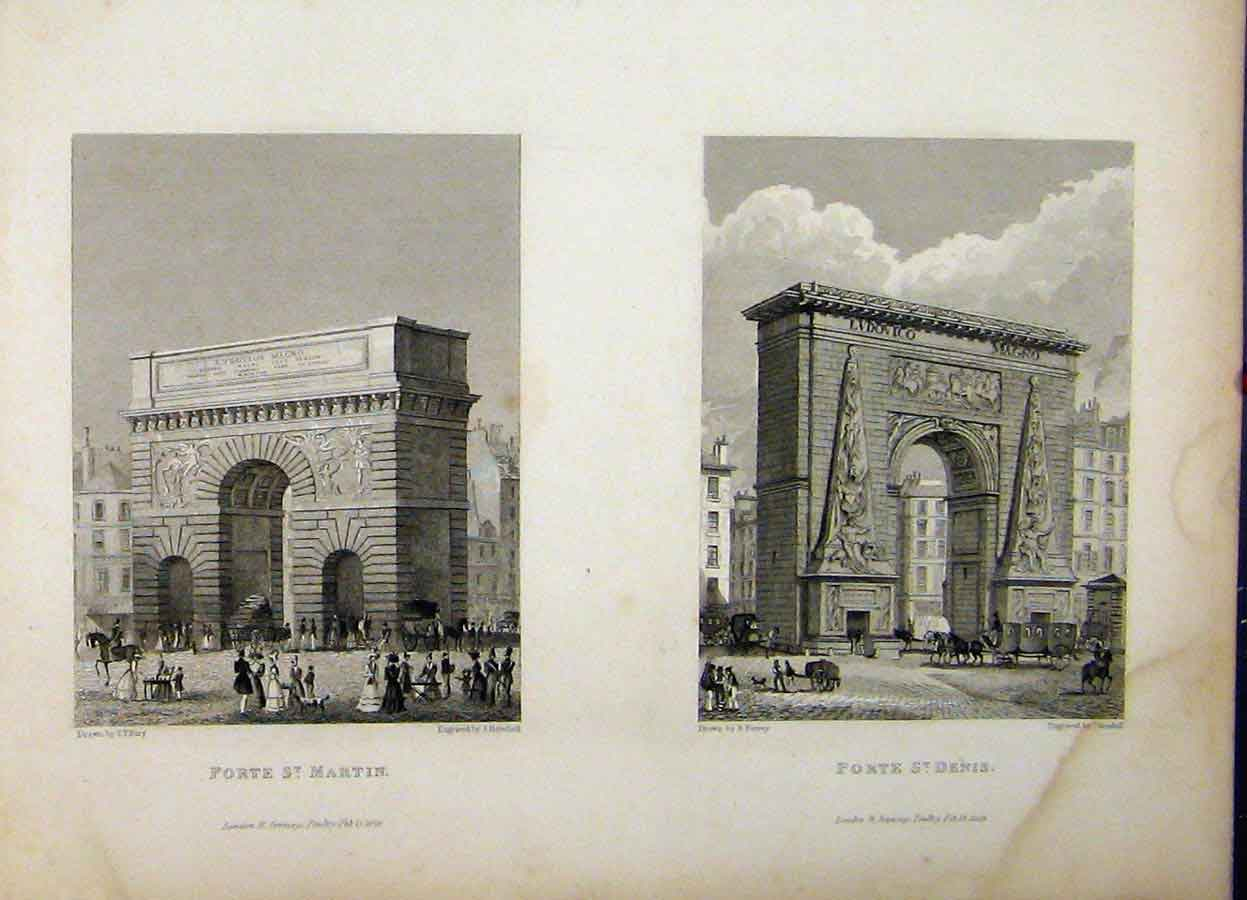 Print 1829 Gate Exit Arch St Martin Denis France Henshall 791A198 Old Original
