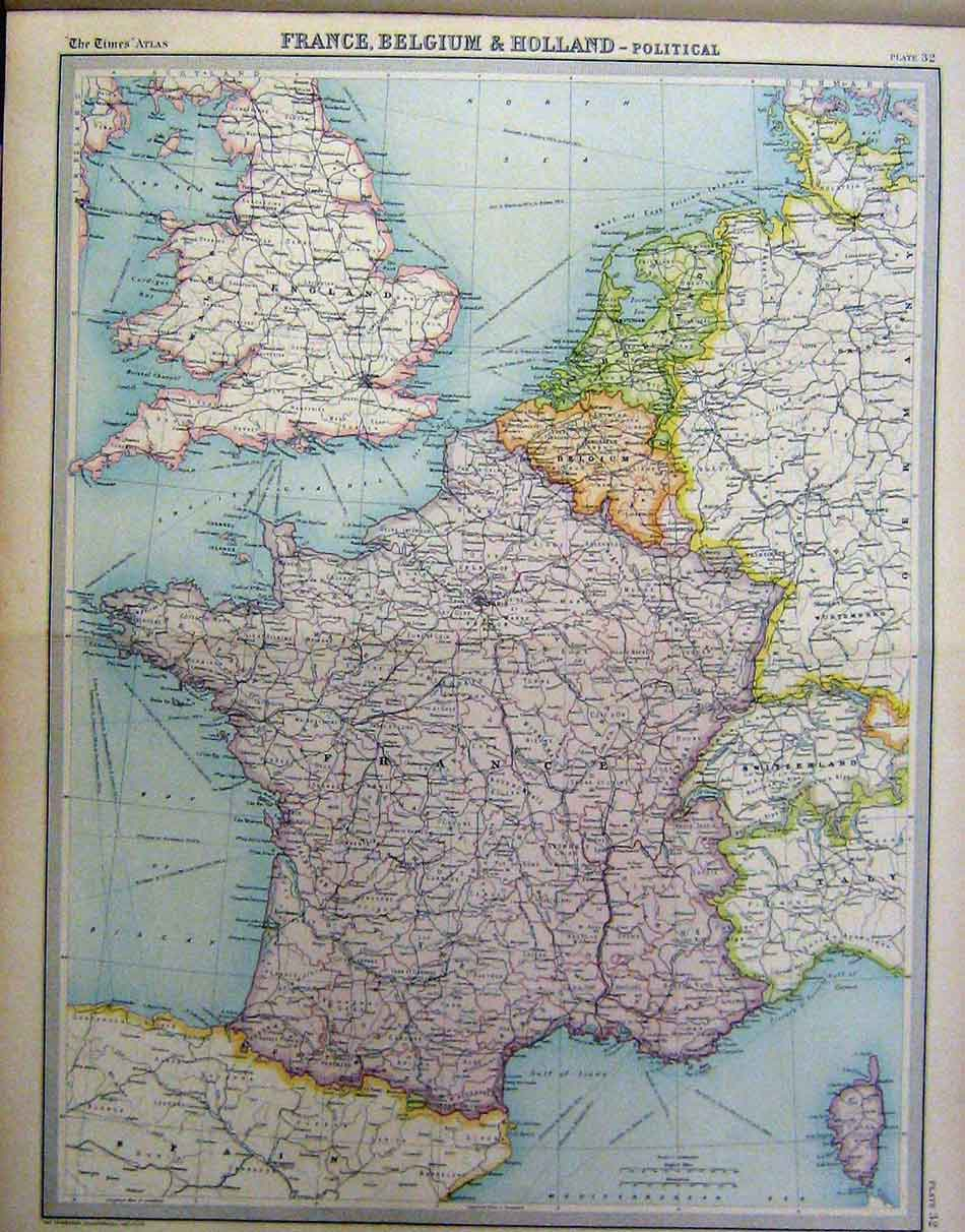 19 Print 1920 France Belgium Holland Political Map 032A199 Old – Map of France and Belgium